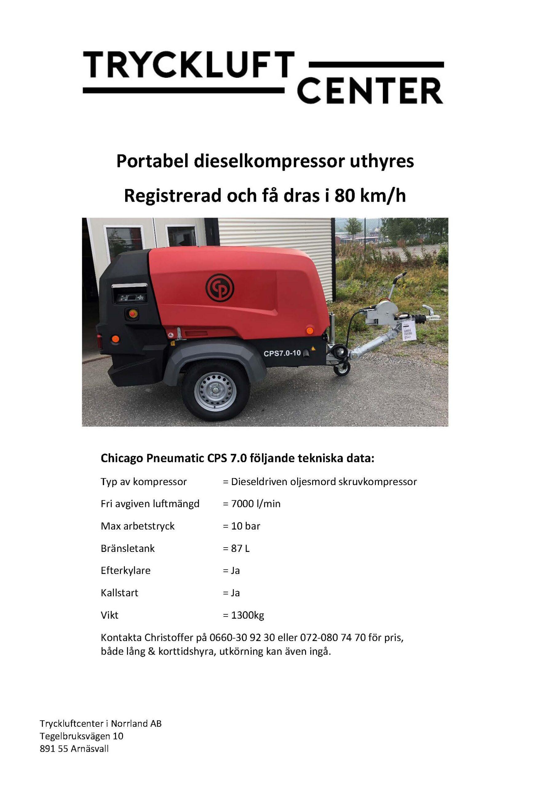 Dieselkompressor uthyres